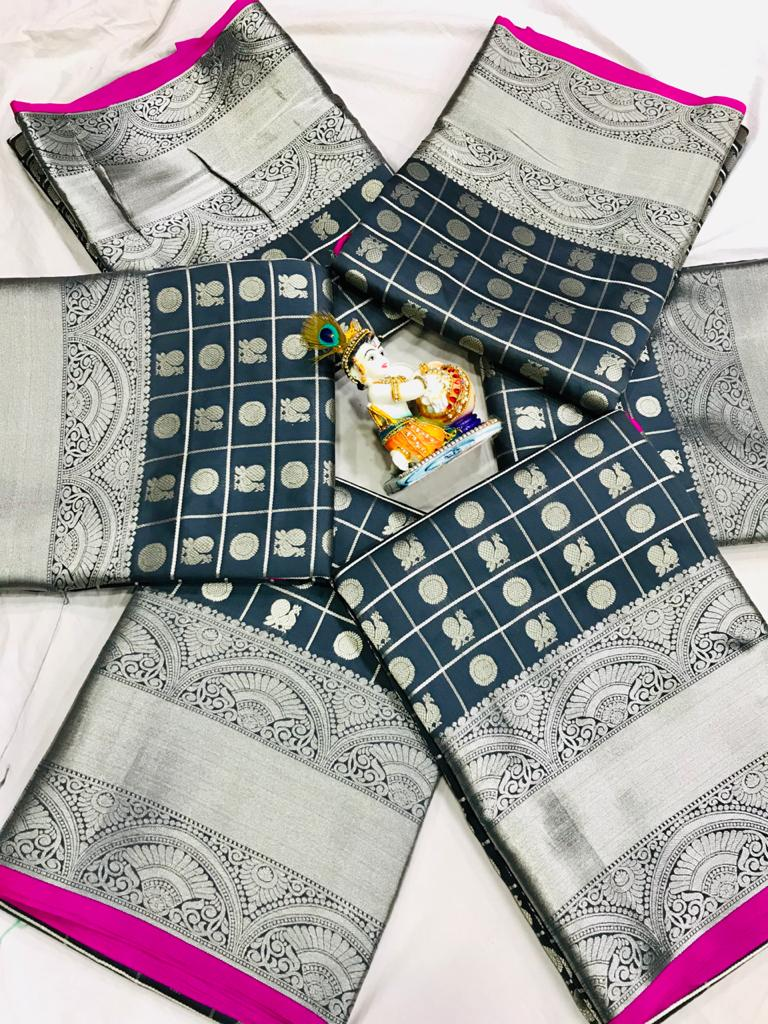 women's Blue Lichi Silk Traditional saree dvz0002212