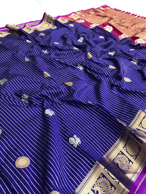 women's Blue jacquard sona chandi zari woven saree dvz0001322