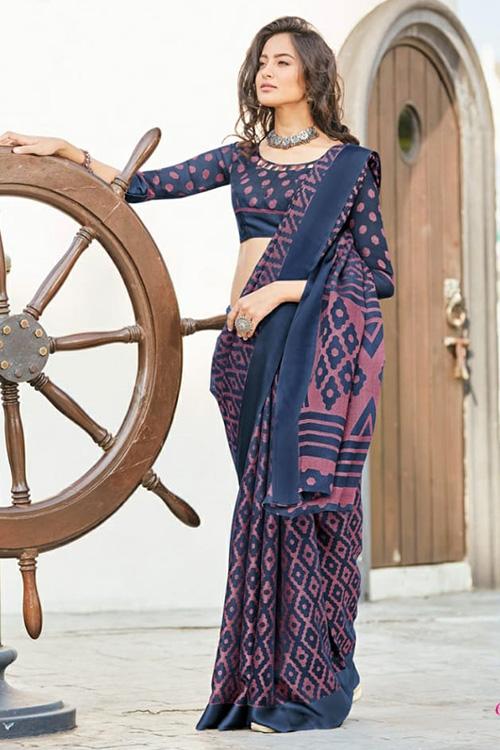 women's Brasso silk saree (Blue, Printed, dvz0001088)