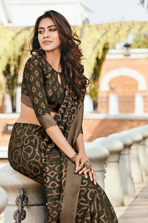 women's Brasso silk saree (Brown, Printed, dvz0001096)