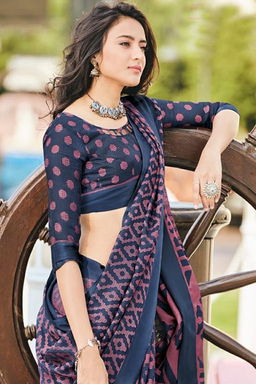 women's Brasso silk saree online (Blue, Printed, dvz0001088)
