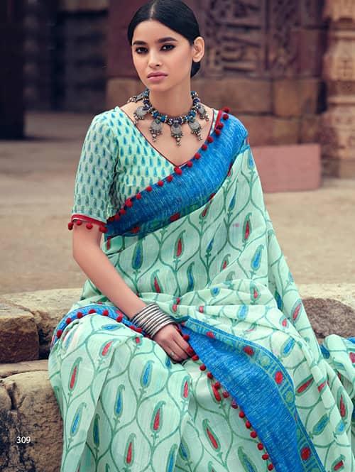 women's Cotton Silk saree With Pum Pum Border dvz0001639-2