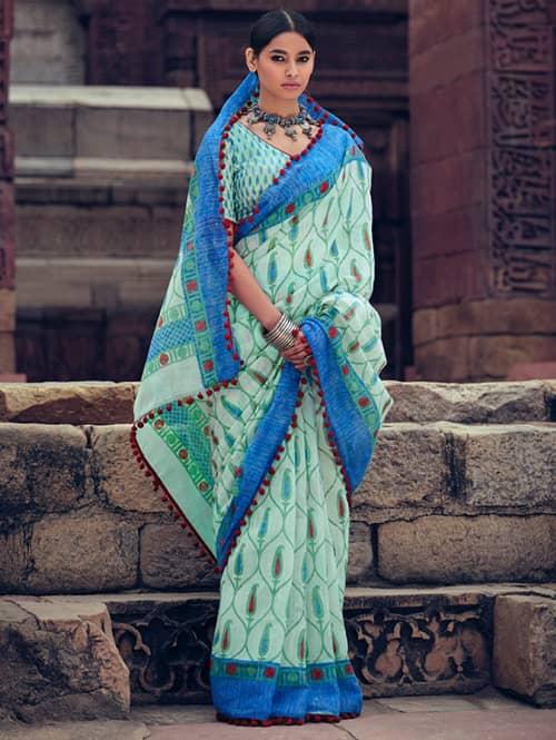 women's Cotton Silk saree With Pum Pum Border dvz0001639