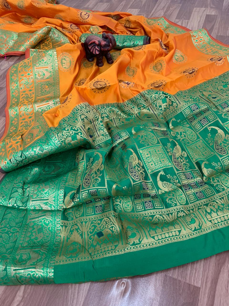 women's Gorgeous Banarasi Paithani style saree in yellow dvz0001387 - silk saree shopping online