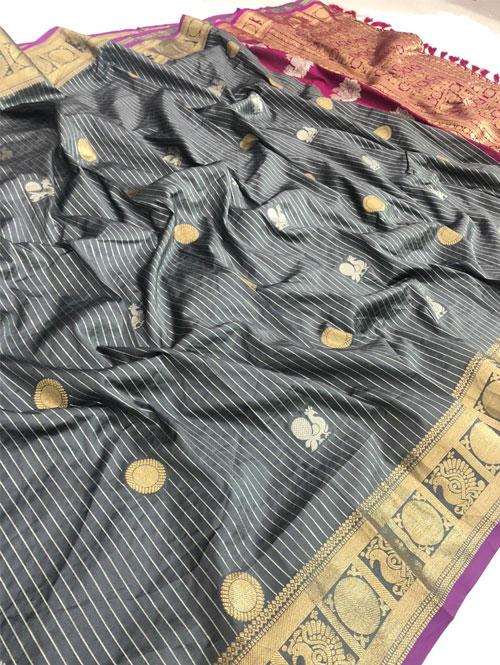 women's Grey jacquard sona chandi zari woven saree dvz0001327