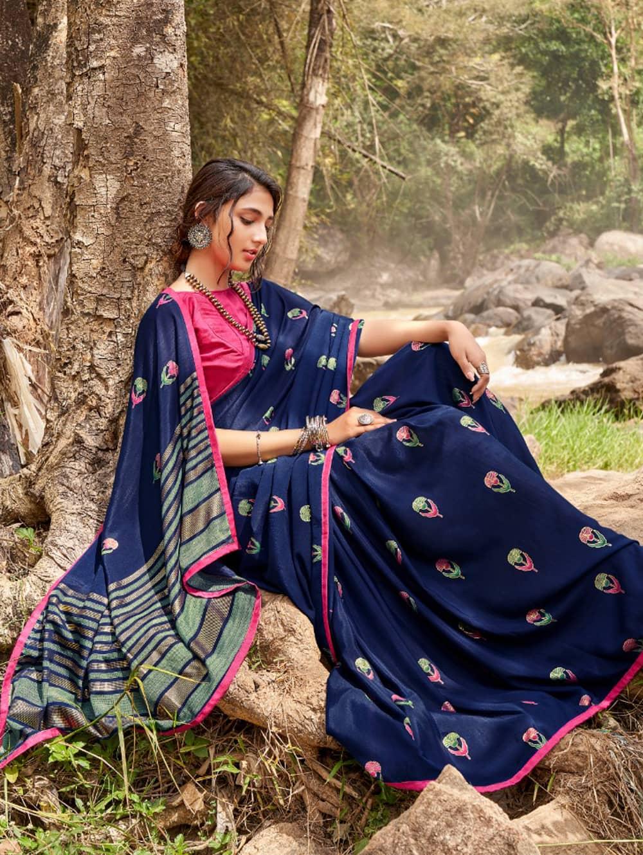 women's Italian Chiffon Saree in Blue With Foil Print dvz0001791-2