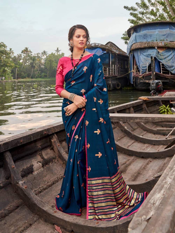 women's Italian Chiffon Saree in Blue With Foil Print dvz0001792