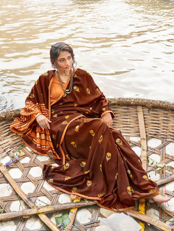 women's Italian Chiffon Saree in Brown With Foil Print dvz0001799-2