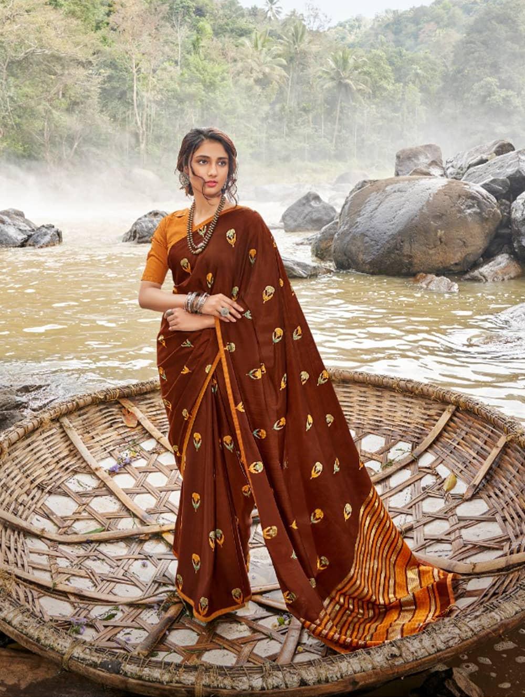 women's Italian Chiffon Saree in Brown With Foil Print dvz0001799