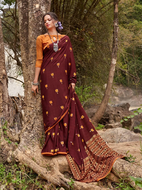 women's Italian Chiffon Saree in Maroon With Foil Print dvz0001795