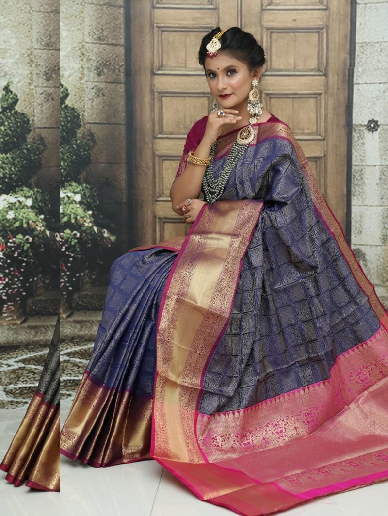 women's Kanchipuram soft silk saree in Blue dvz0002583