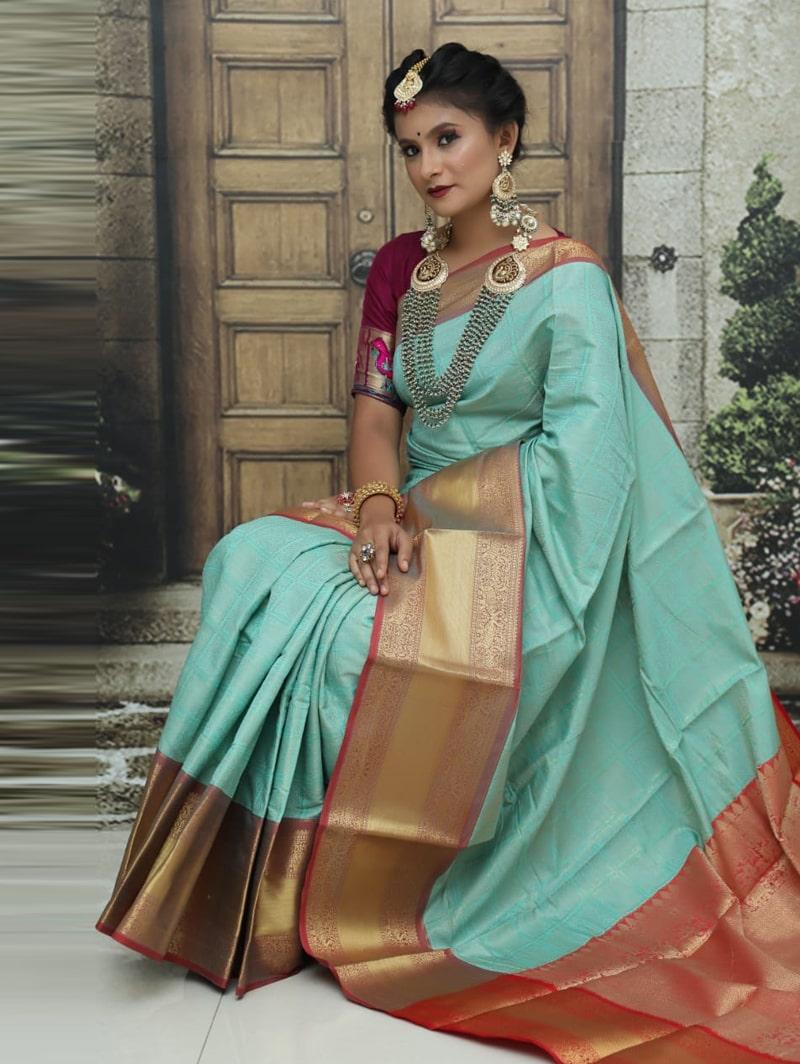 women's Kanchipuram soft silk saree in Sky Blue dvz0002584