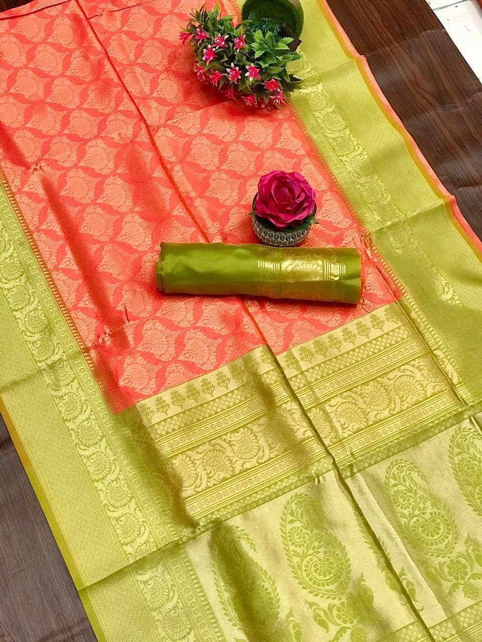 women's Peach coloured Kanjivaram silk saree dvz0001359