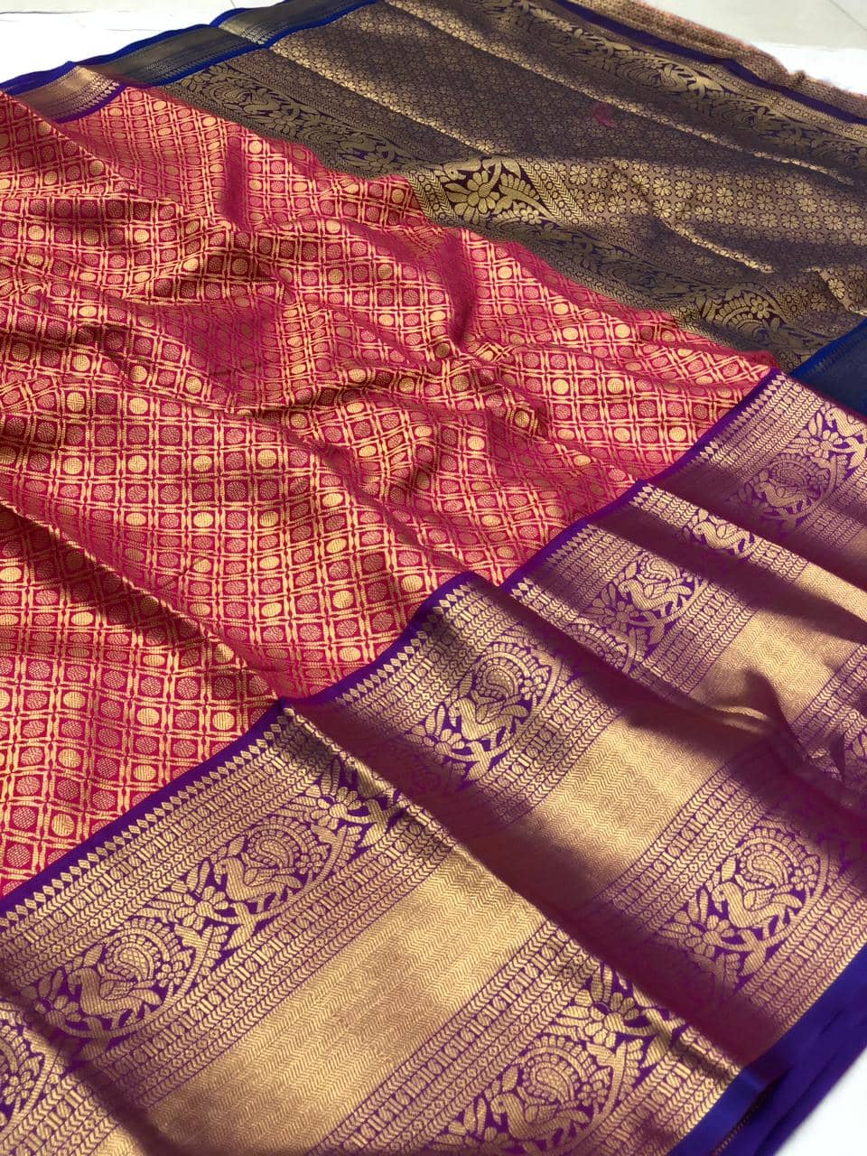 women's Pink Kanchipuram silk saree india dvz0002231
