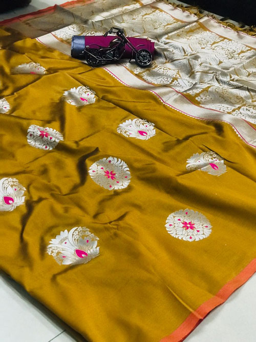 women's Stunning Gorgeous soft silk sarees in Yellow - soft silk sarees online - dvz0001247