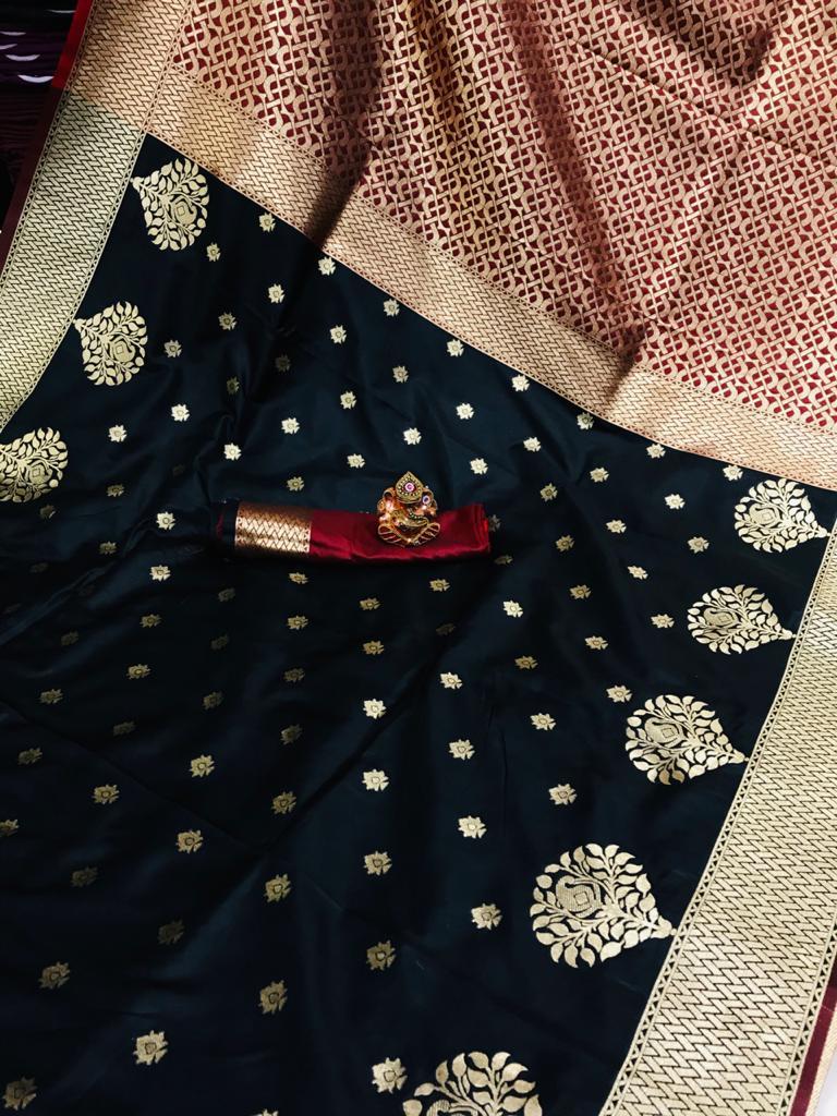 women's Super Soft Black Banarasi Silk Saree dvz0002336