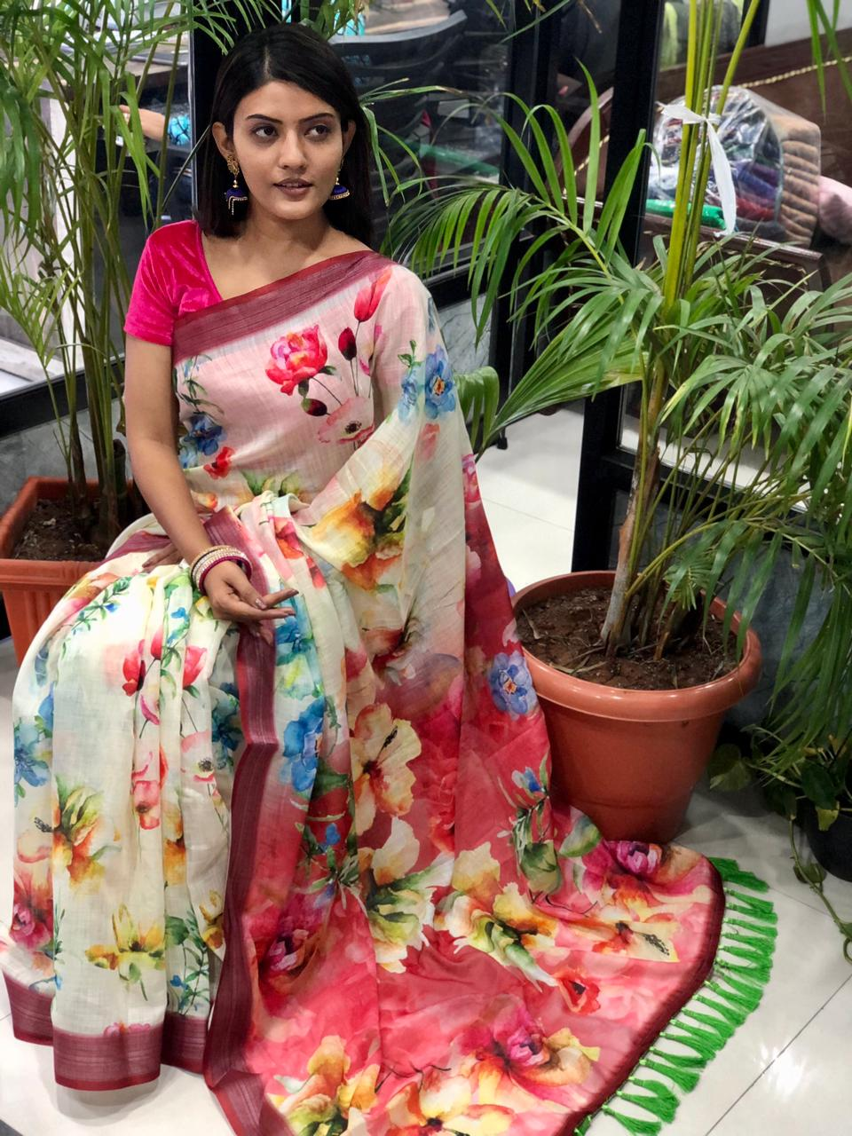 women's linen digital print party wear sarees online dvz0001907