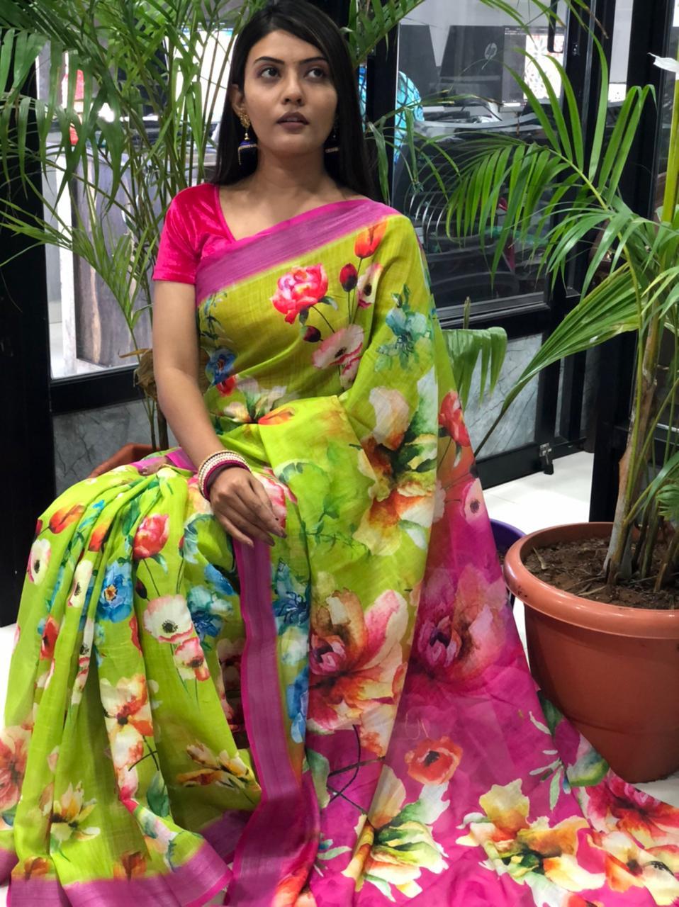 women's linen digital print sarees online dvz0001906