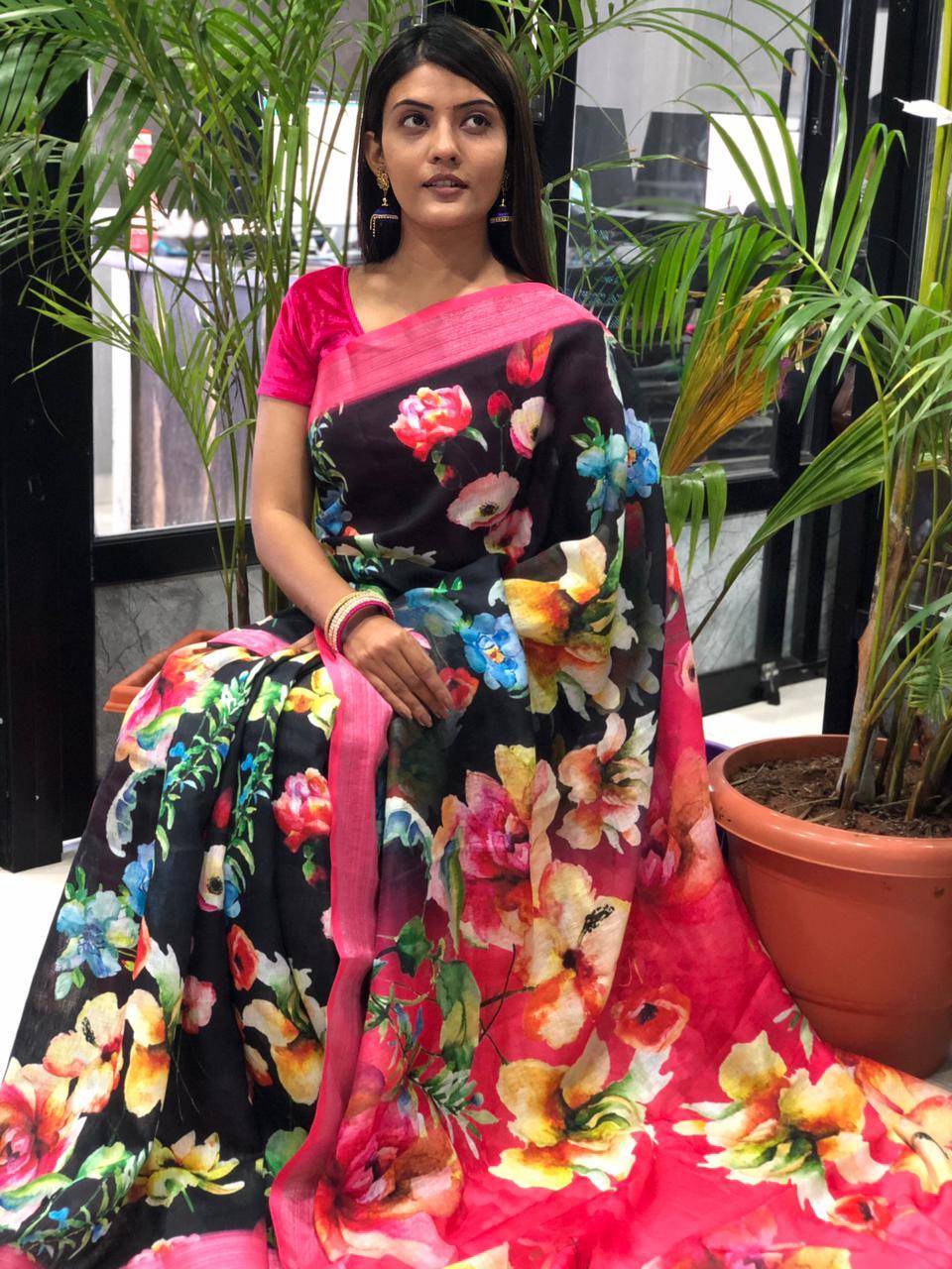 women's linen digital print sarees online dvz0001910