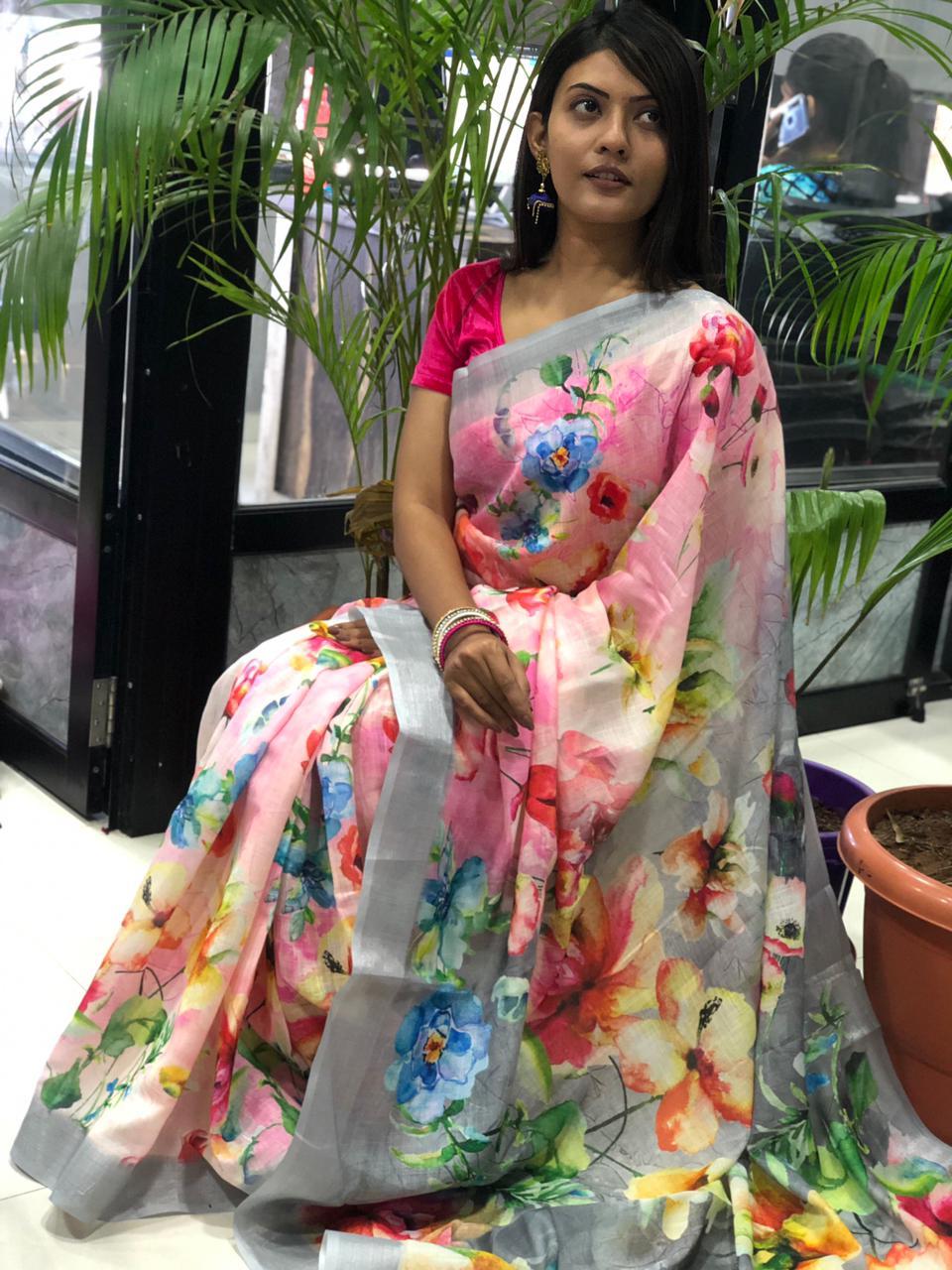 women's linen digital print sarees online dvz0001911