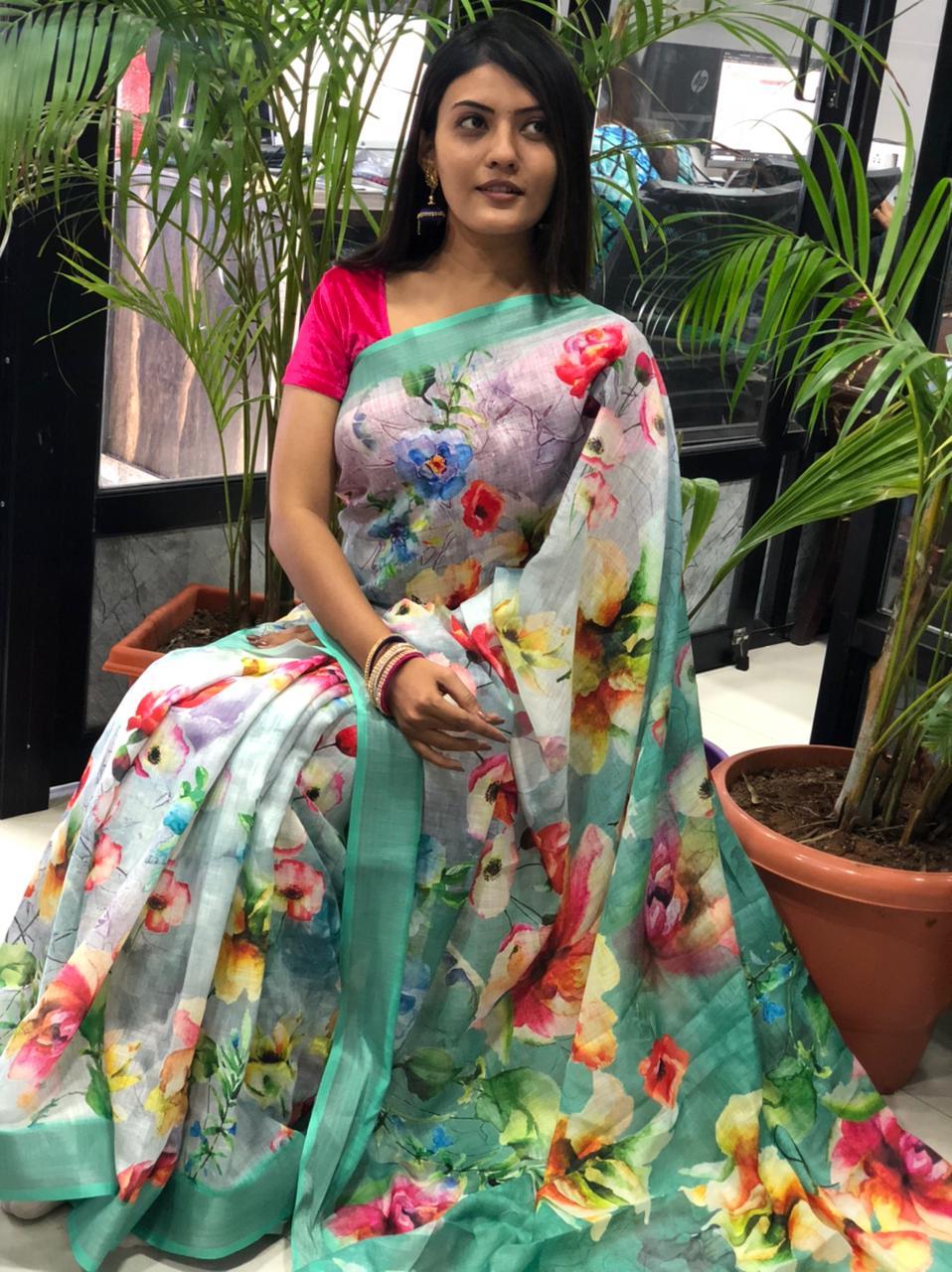 women's linen digital print sarees online dvz0001912