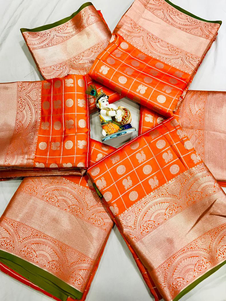 women's orange Lichi Silk Traditional saree dvz0002215