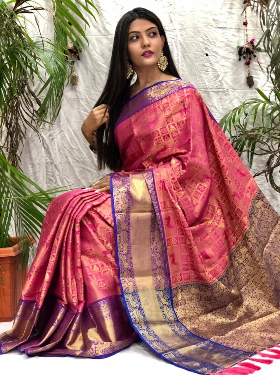 women's pink Kanchipuram silk saree dvz0002140 - saree store