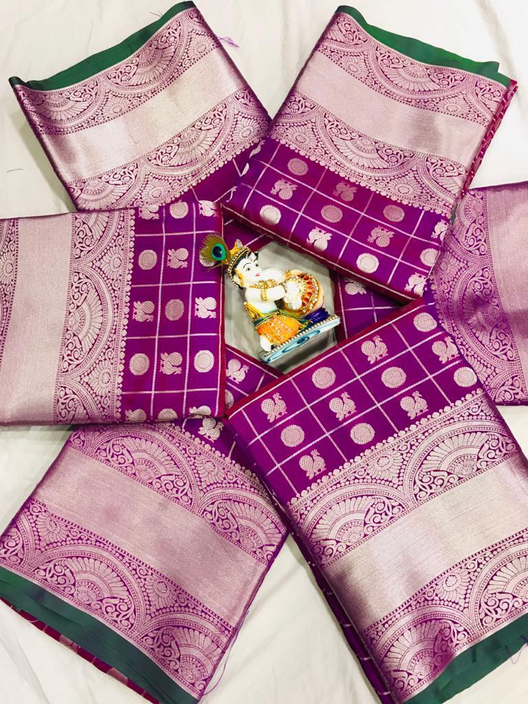women's purple Lichi Silk Traditional saree dvz0002216