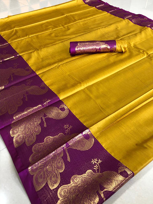 yellow-color-beautiful-cotton-silk-saree-gold-dvz00051