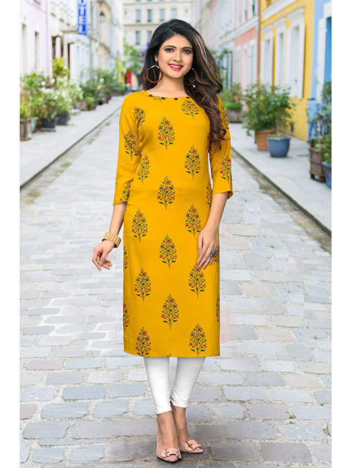 yellow-color-beautiful-printed-rayon-straight-kurti-dvz000222