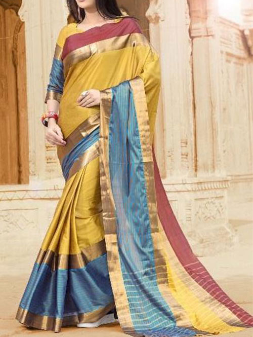 yellow-colored-beautiful-branded-cotton-silk-saree-dvz000172 (2)