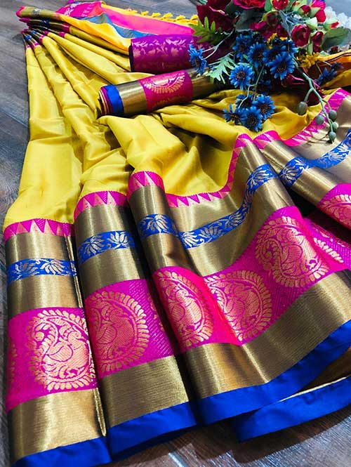 yellow-colored-beautiful-branded-cotton-silk-saree-with-double-blouse-dvz000177