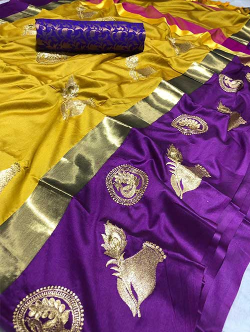 yellow-colored-beautiful-embroidered-cotton-silk-saree-dvz00020