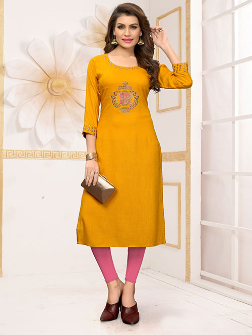 Yellow colored Beautiful Embroidered Rayon Straight Kurti