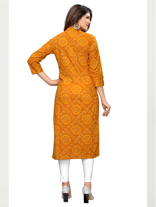 Yellow colored Beautiful Printed Cotton Straight Kurti
