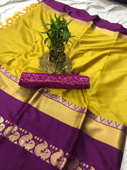 yellow-colored-cotton-silk-saree-dvz00033