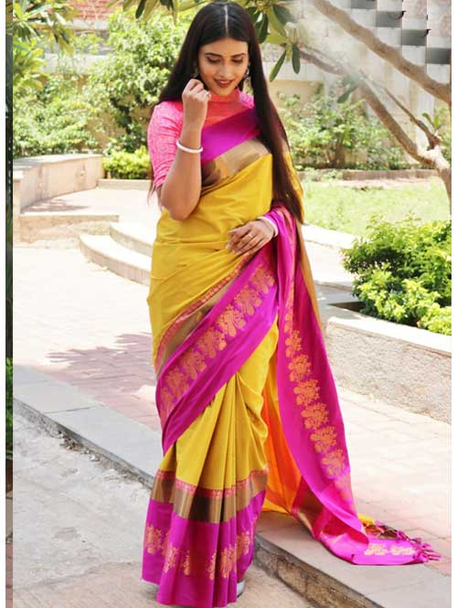 Yellow Cotton Silk Saree with Extra Blose Piece - Rich Mayurica - most trending saree on google