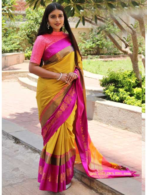 Yellow Cotton Silk Saree with Extra Blose Piece - Rich Mayurica