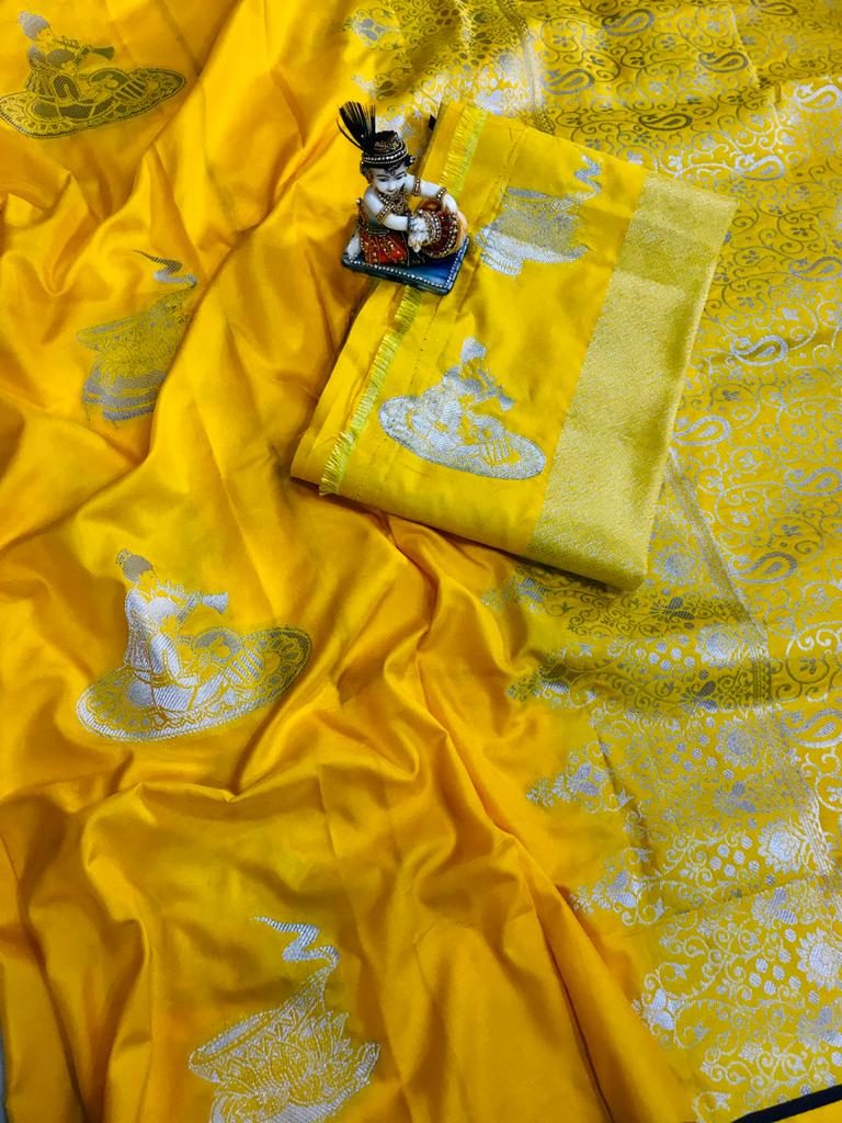 yellow lichi silk with full body weaving jari & new extra ordinary design dvz0001712