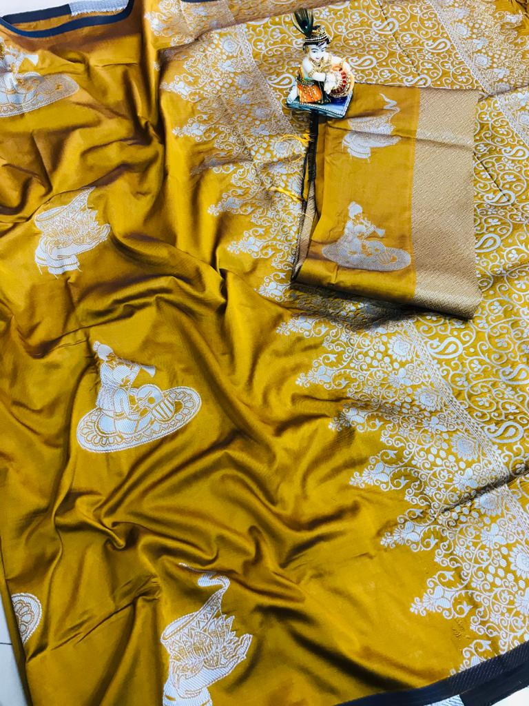 yellow lichi silk with full body weaving jari & new extra ordinary design dvz0001713